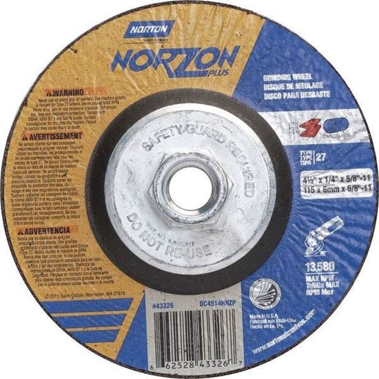 Picture of NorZon Plus SGZ CA Type 27 Grinding Wheel  4-1/2 x 1/4 x 5/8-11