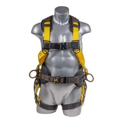 Full Body Harness / 5PT. BACK PADDED, QCB CHEST, GROMMET LEGS, BACK/SIDE D-RINGS, POSITIONING BELT - Front